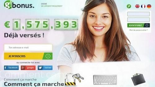 Gbonus - Site pour gagner de l'argent en ligne